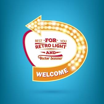 Retro gloeilamp vector toespraak bubble banner.