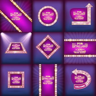 Retro gloeilamp vector toespraak bubble banners