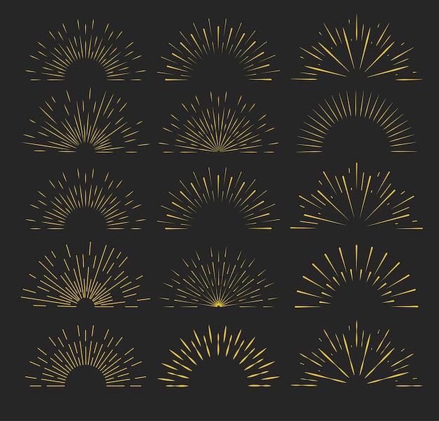 Retro gouden zonnestraal vormt vintage lichte set