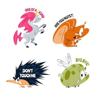 Retro grappige stickers van tekenfilm dieren