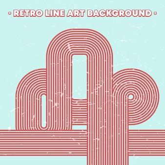 Retro grunge textuur achtergrond met vintage gestreepte lijnen. vector illustratie.