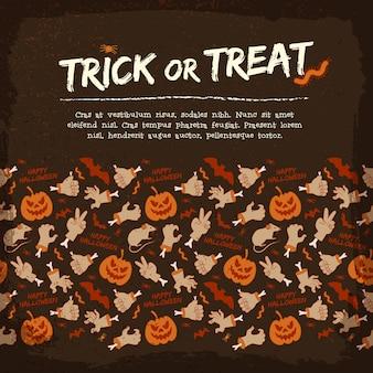 Retro halloween achtergrond met tekst zombie arm gebaren vleermuis rat pompoen spin worm rups