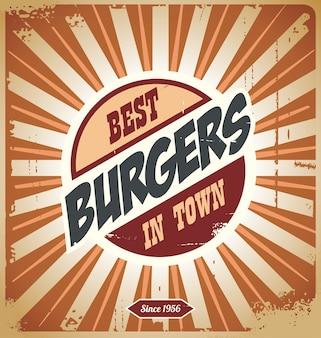 Retro hamburgerteken, uitstekend affichemalplaatje voor beste burgers in stad