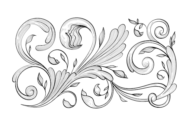 Retro hand getekend decoratieve rand in barokstijl