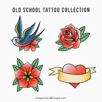 Retro hand getekende tattoos pak