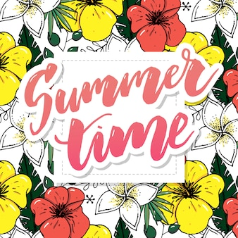 Retro hand getrokken elementen voor zomer kalligrafische ontwerpen