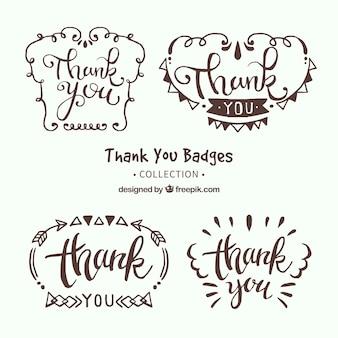 Retro handgetekende dank u stickerspakket