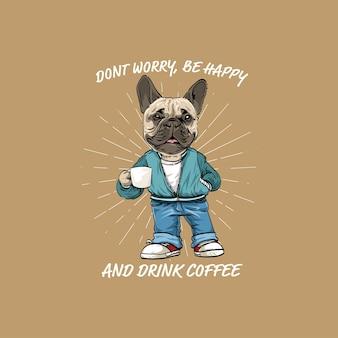 Retro handgetekende hond die koffie drinkt