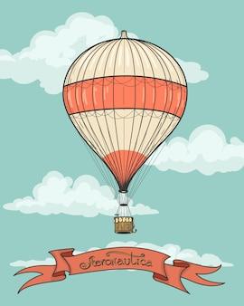 Retro hete luchtballon met lint