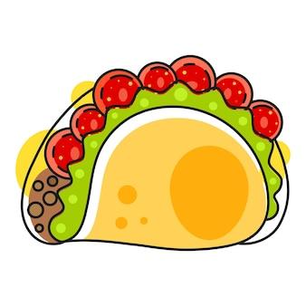 Retro hete mexicaanse pictogram. fast food. vectorachtergrond. biologische ingrediënten. mexicaans taco-eten. kleurrijke vectorillustratie. mexico-vectorset.