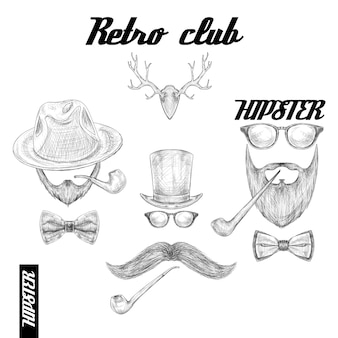 Retro hipster club accessoires