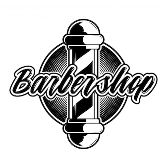 Retro hipster stijlvolle vintage aangepaste grafisch ontwerp gravure logo pictogram kapper salon zwart wit bord pictogram met kapper paal. moderne stijlillustratie op oude textuur grijze achtergrond.