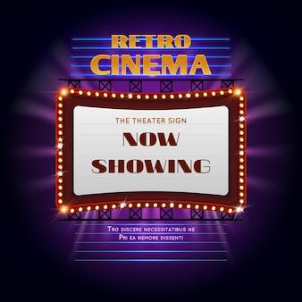 Retro hollywood-bioscoop 3d gloeiend licht bord. film licht weergave billboard vectorillustratie. retro bioscoop billboard evenement