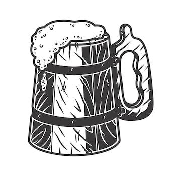 Retro houten bierpul met schuim barmenu