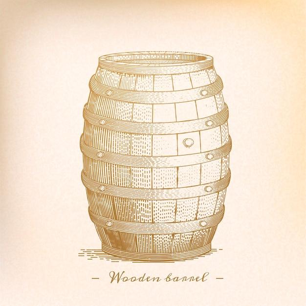 Retro houten vat in graveerstijl, beige tint
