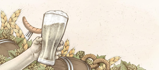 Retro houtsnede hand met bier
