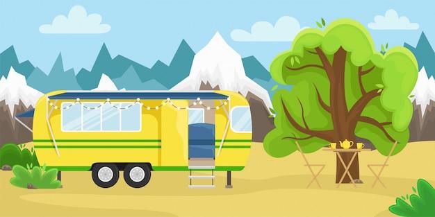Retro huis op wielen voor reizen.