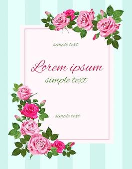 Retro huwelijksuitnodigingen met roze rozen