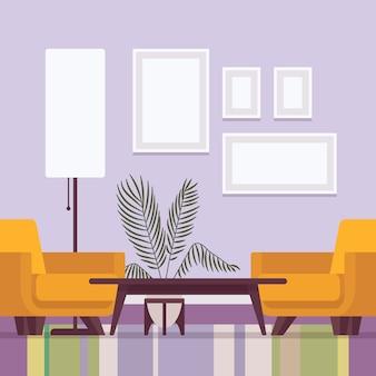 Retro interieur met frames voor kopie ruimte