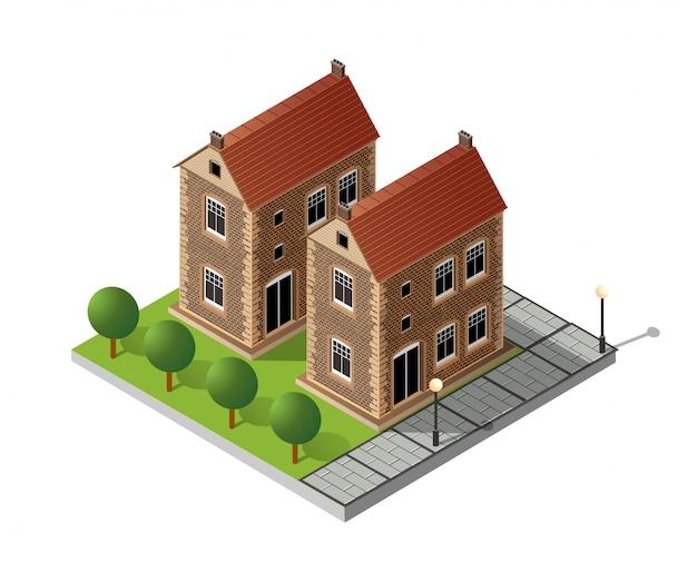 Retro isometrisch landhuis