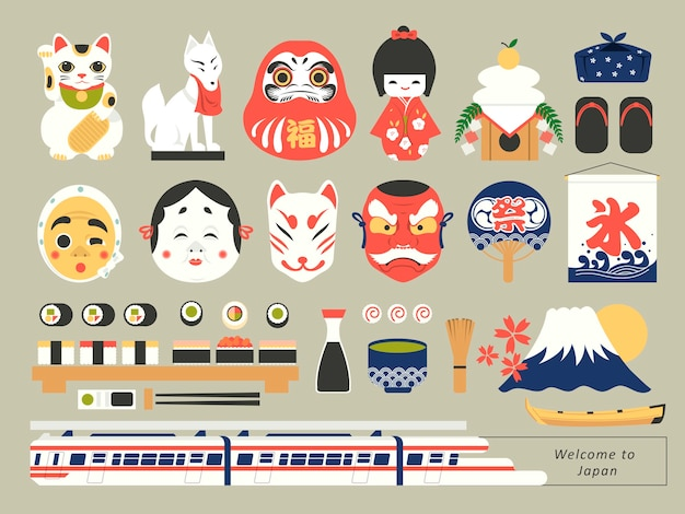 Retro japanse collectie culturele elementen