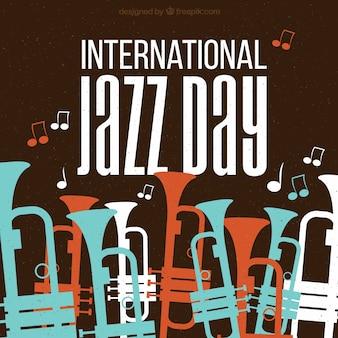 Retro jazz achtergrond met gekleurde trompetten