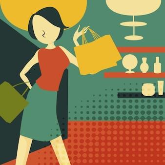 Retro jonge vrouw bij het winkelen