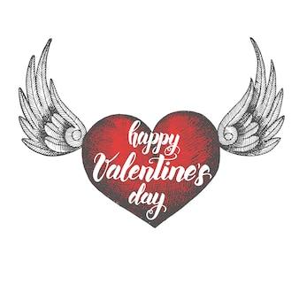 Retro kaart met rood hart. fijne valentijnsdag. schetsen. handgetekende, gravure, broedeieren.