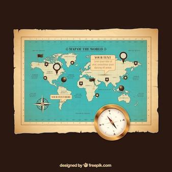 Retro kaart van de wereld