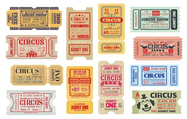 Retro kaartjes voor grote circusvoorstelling, set