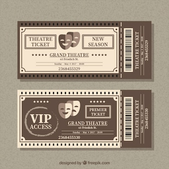 Retro kaartjes voor het theater met maskers
