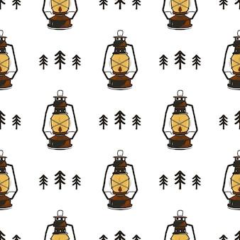 Retro kamp naadloos patroon met lantaarns en bomen. vintage hand getrokken.