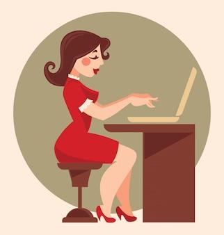 Retro kantoor meisje, cartoon vectorillustratie
