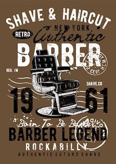 Retro kapper, vintage illustratie poster.