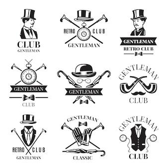 Retro kentekens of etiketten die voor herenclub worden geplaatst.