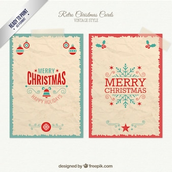 Retro kerstmis kaarten pak