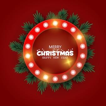 Retro kerstmis lighr frame met boomtakken. realistische kerstboom. luier nieuwjaar. banner, bericht