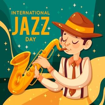 Retro klassiek geklede man zingen jazz