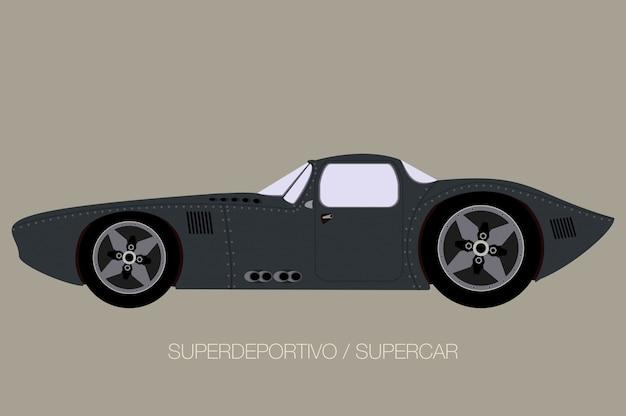 Retro klassieke supercar, zijaanzicht