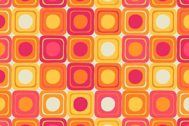 Retro kleurrijke achtergrond, geometrische vierkante vorm vector