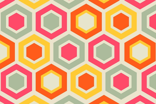 Retro kleurrijke achtergrond, geometrische zeshoek vorm vector