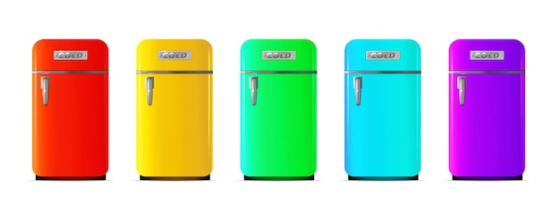Retro kleurrijke koelkast in realistische stijl geïsoleerde vectorillustratie