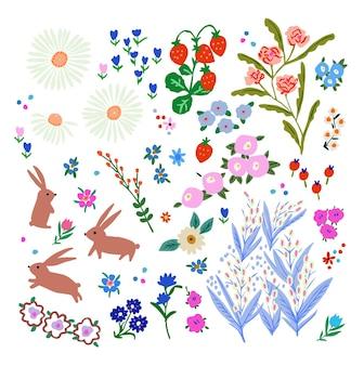 Retro kleurrijke schattige bloemen aardbei en konijnen handgetekend