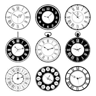Retro klokken. oude romeinse vintage ronde horloges collectie vector afbeeldingen set. klok oud nummer, illustratie vintage romeinse horloge