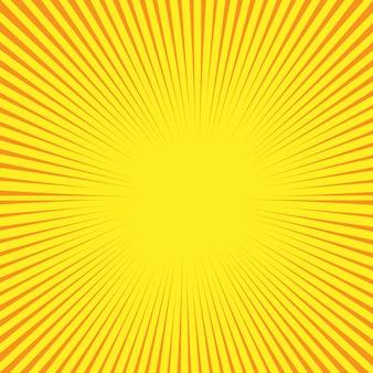 Retro komische stijlachtergrond met zonstralen