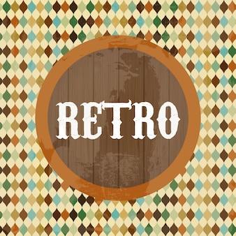 Retro label over patroon achtergrond vectorillustratie