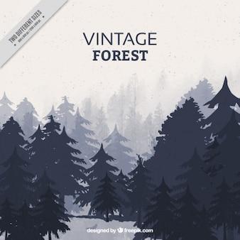 Retro landschap met verschillende soorten bomen