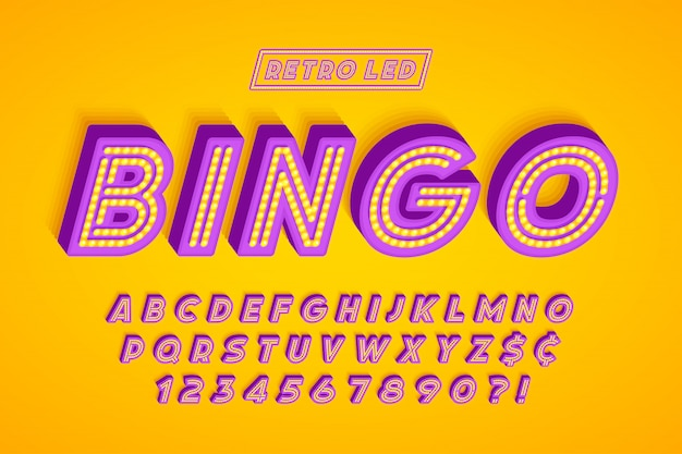 Retro led stripe lettertype, letters en cijfers.