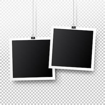 Retro lege fotolijst set opknoping op een clip