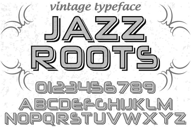 Retro letterbeeld labelontwerp jazz roots